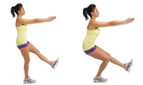 1 – leg Squat (Przysiad na jednej nodze) – poprawa siły mięśni czworogłowych.